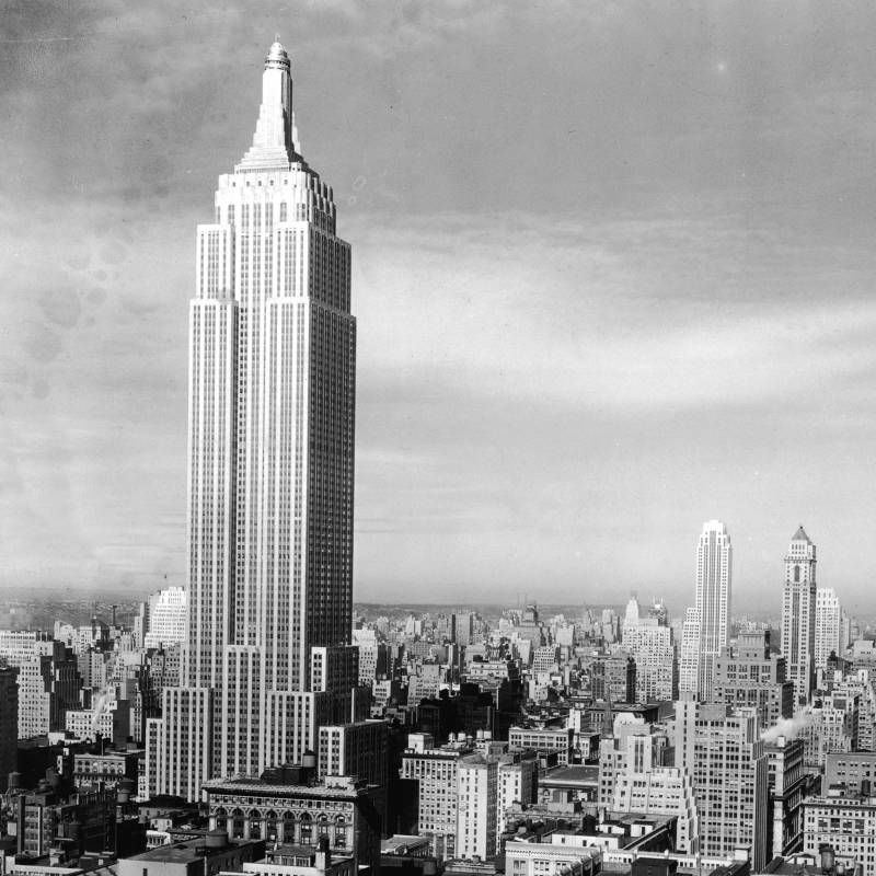 View of the Manhattan skyline with the Empire State Building and Chrysler...